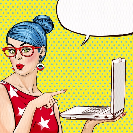 49756985 - girl with laptop in the hand in comic style. woman with notebook . girl showing the laptop. girl in glasses. hipster girl. sexy blue hair girl with laptop.