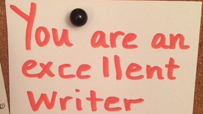 Notice on pinboard: You are an excellent writer